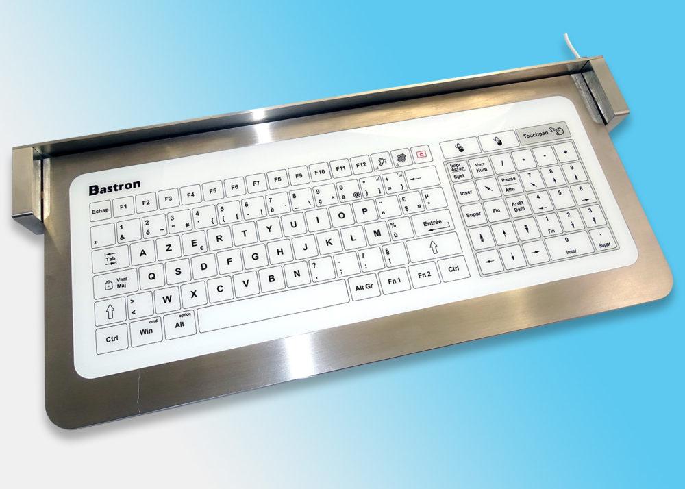 Clavier verre en tablette rabattable en inox